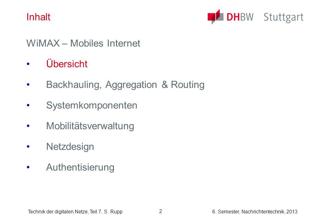 6. Semester, Nachrichtentechnik, 2013Technik der digitalen Netze, Teil 7, S. Rupp 2 Inhalt WiMAX – Mobiles Internet Übersicht Backhauling, Aggregation