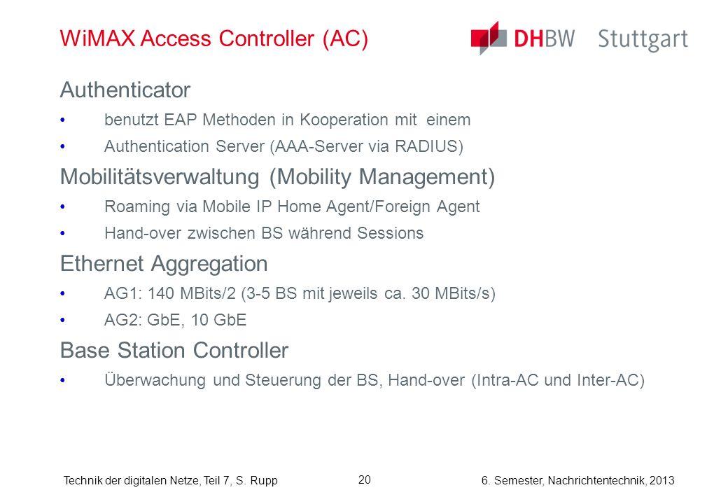 6. Semester, Nachrichtentechnik, 2013Technik der digitalen Netze, Teil 7, S. Rupp 20 WiMAX Access Controller (AC) Authenticator benutzt EAP Methoden i