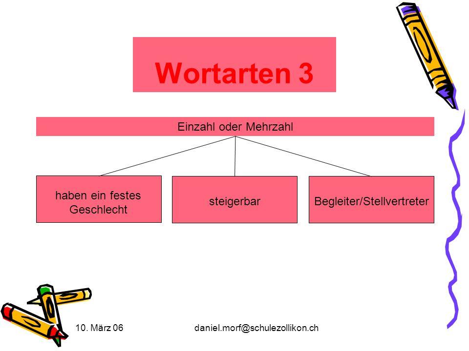 10. März 06daniel.morf@schulezollikon.ch Wortarten 3 steigerbar haben ein festes Geschlecht Begleiter/Stellvertreter Einzahl oder Mehrzahl