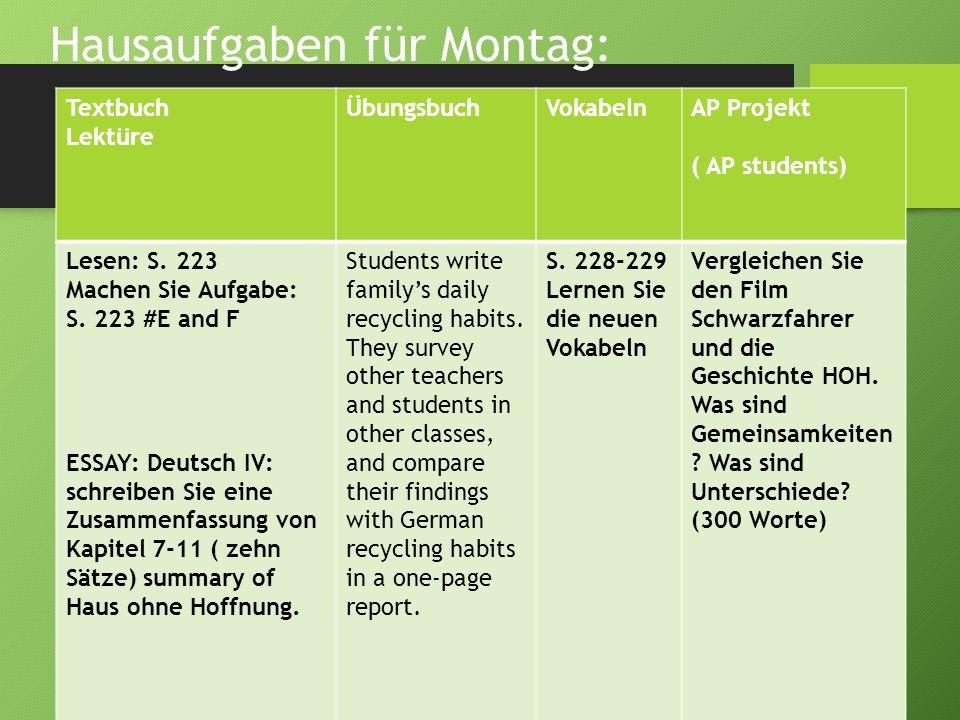 Hausaufgaben für Montag: Textbuch Lektüre ÜbungsbuchVokabelnAP Projekt ( AP students) Lesen: S. 223 Machen Sie Aufgabe: S. 223 #E and F ESSAY: Deutsch