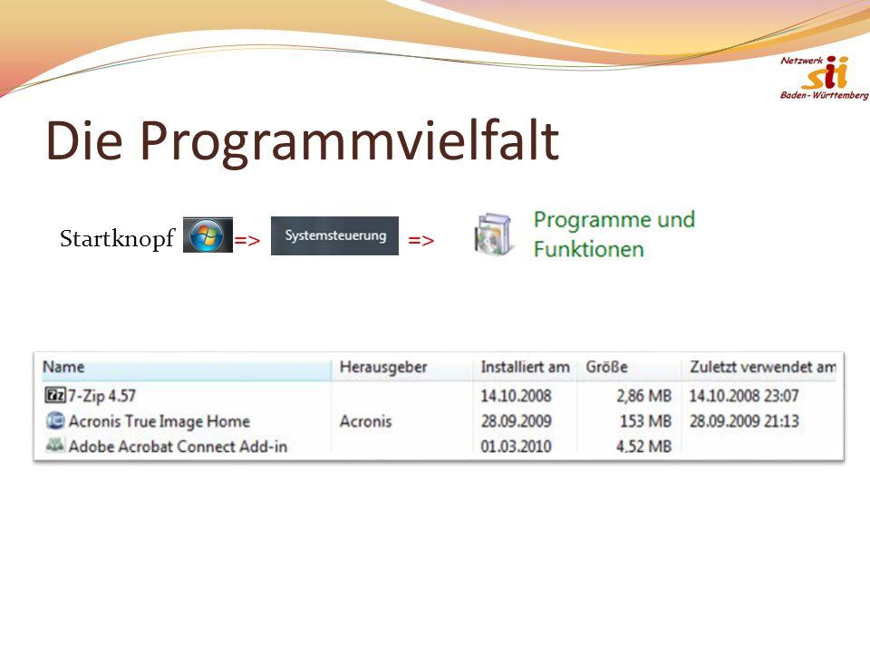 Die Programmvielfalt Startknopf=>=>