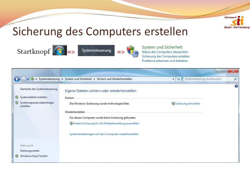 Sicherung des Computers erstellen Startknopf=>=>