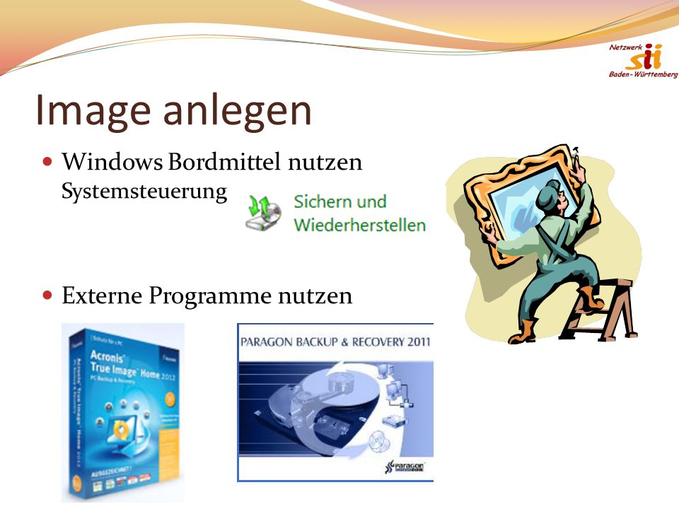 Image anlegen Windows Bordmittel nutzen Systemsteuerung Externe Programme nutzen
