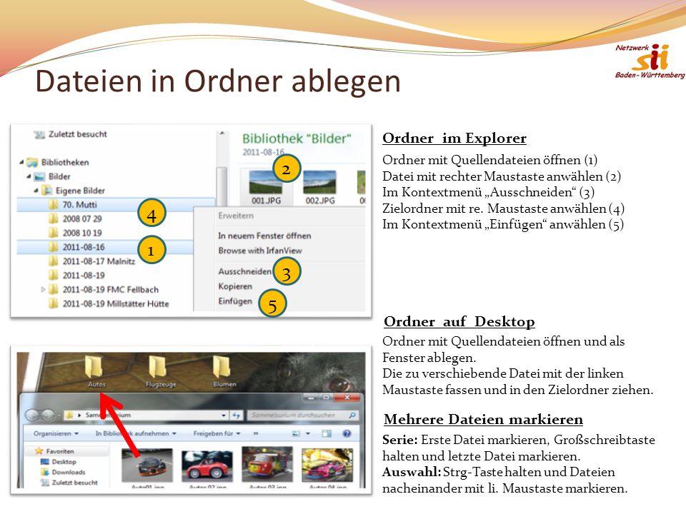 Dateien in Ordner ablegen 1 2 4 3 5 Ordner mit Quellendateien öffnen (1) Datei mit rechter Maustaste anwählen (2) Im Kontextmenü Ausschneiden (3) Zielordner mit re.
