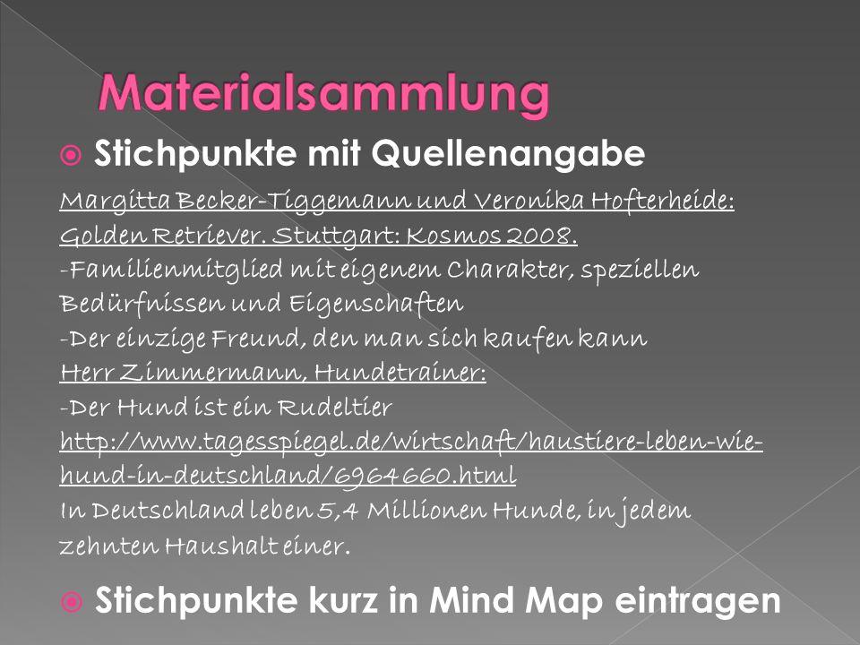 Gliederung erarbeiten (siehe Mind Map) 1 Einleitung: Hunde in Deutschland 2 Hauptteil: Der Weg zum eigenen Hund 2.1Voraussetzungen 2.1.1Zeit 2.1.2Geld 2.1.3Platz 2.2Auswahl des Hundes 2.2.1Rasse 2.2.2Züchter 2.2.3Tierheim 2.2.4 Laborhund 2.2.5 Privatverkäufe 3 Schluss: Alternativen