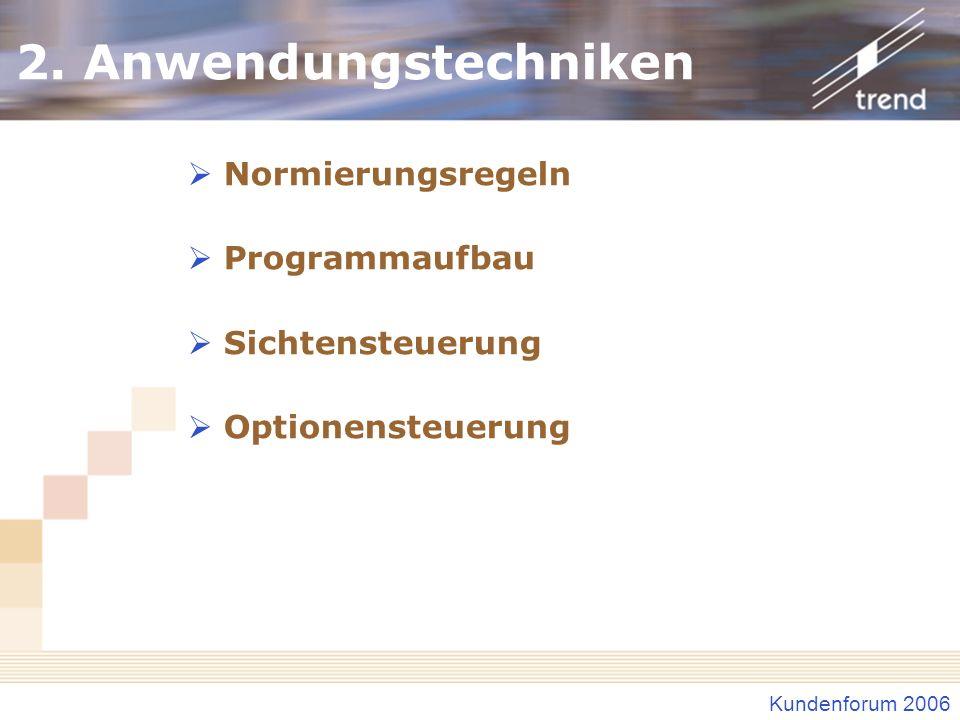 Kundenforum 2006 2. Anwendungstechniken Normierungsregeln Programmaufbau Sichtensteuerung Optionensteuerung