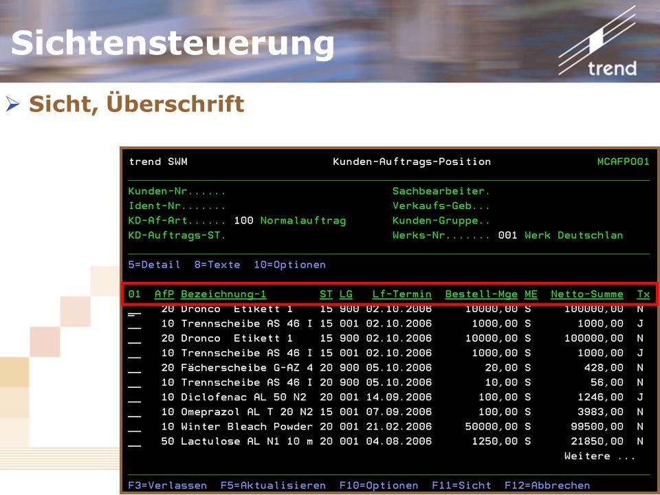Kundenforum 2006 Sicht, Überschrift Sichtensteuerung