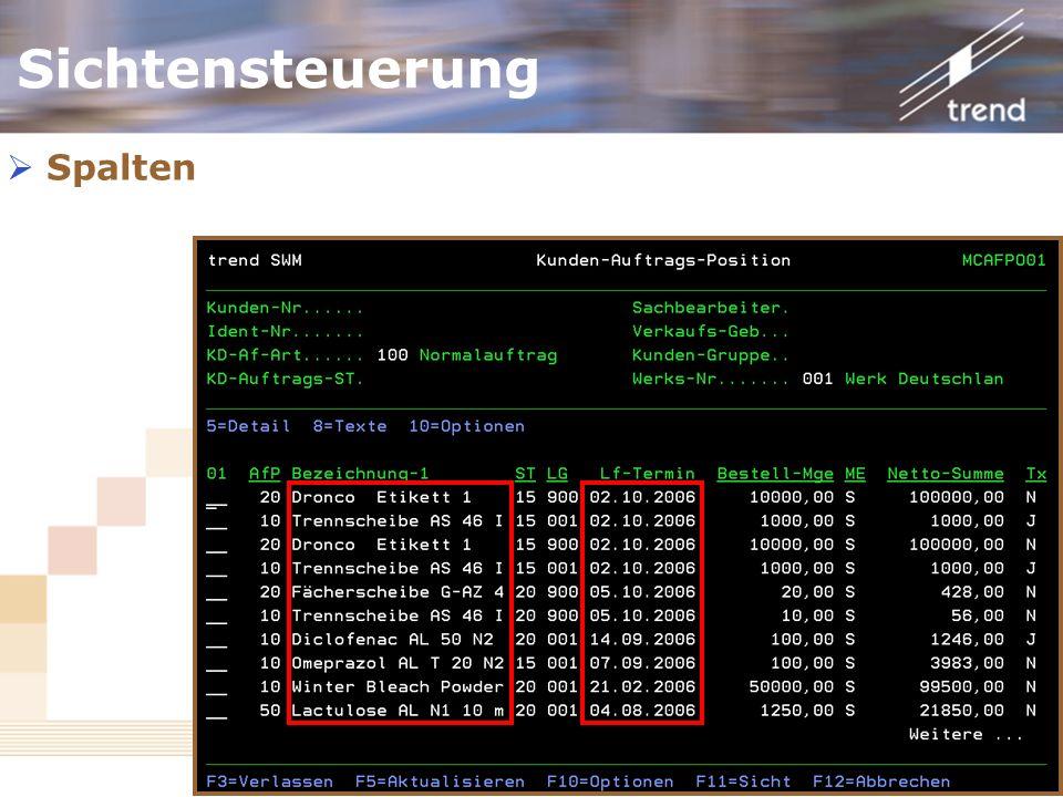 Kundenforum 2006 Spalten Sichtensteuerung