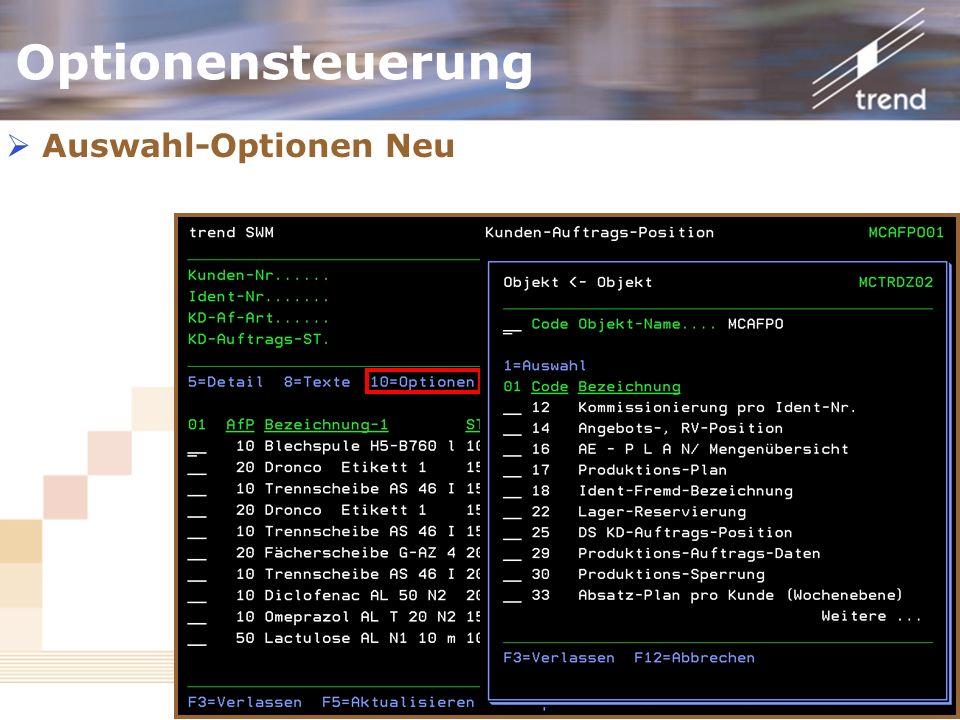 Kundenforum 2006 Optionensteuerung Auswahl-Optionen Neu