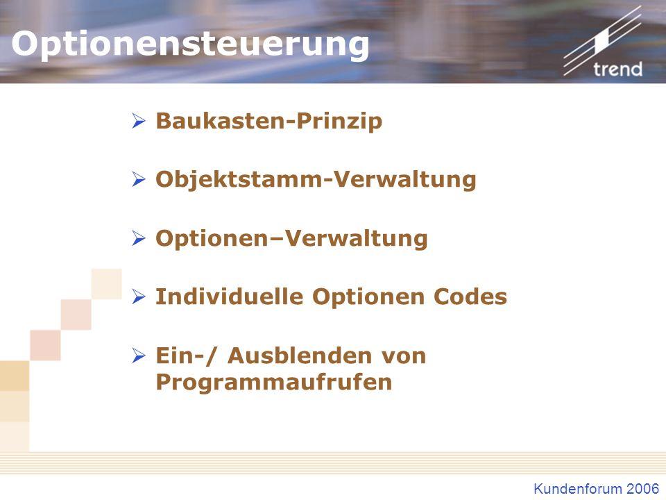 Kundenforum 2006 Optionensteuerung Baukasten-Prinzip Objektstamm-Verwaltung Optionen–Verwaltung Individuelle Optionen Codes Ein-/ Ausblenden von Progr