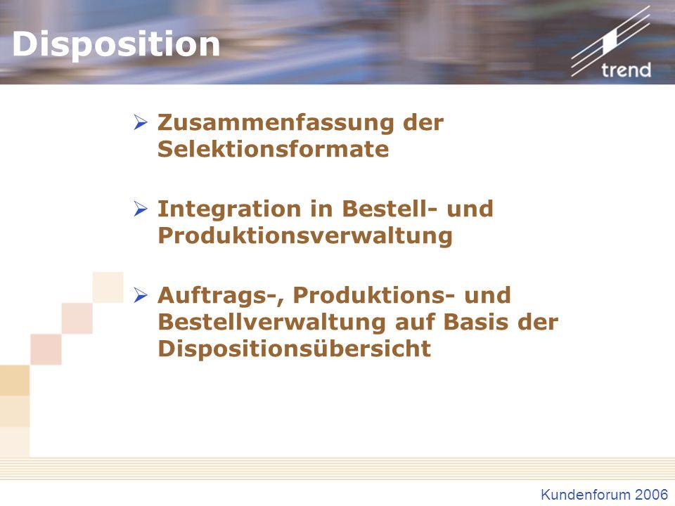Kundenforum 2006 Disposition Zusammenfassung der Selektionsformate Integration in Bestell- und Produktionsverwaltung Auftrags-, Produktions- und Beste
