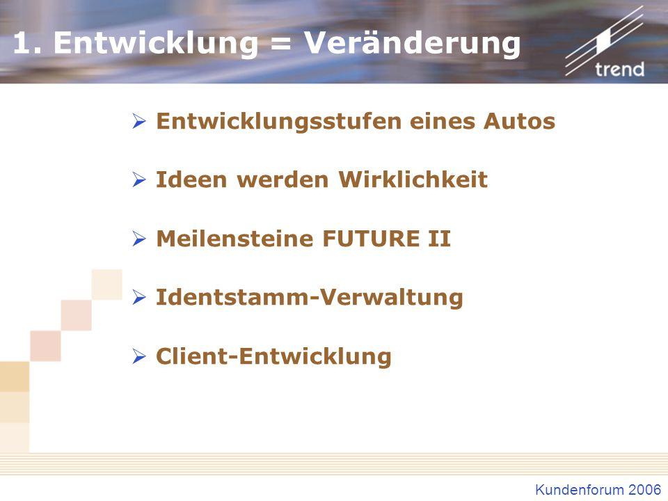 Kundenforum 2006 1. Entwicklung = Veränderung Entwicklungsstufen eines Autos Ideen werden Wirklichkeit Meilensteine FUTURE II Identstamm-Verwaltung Cl