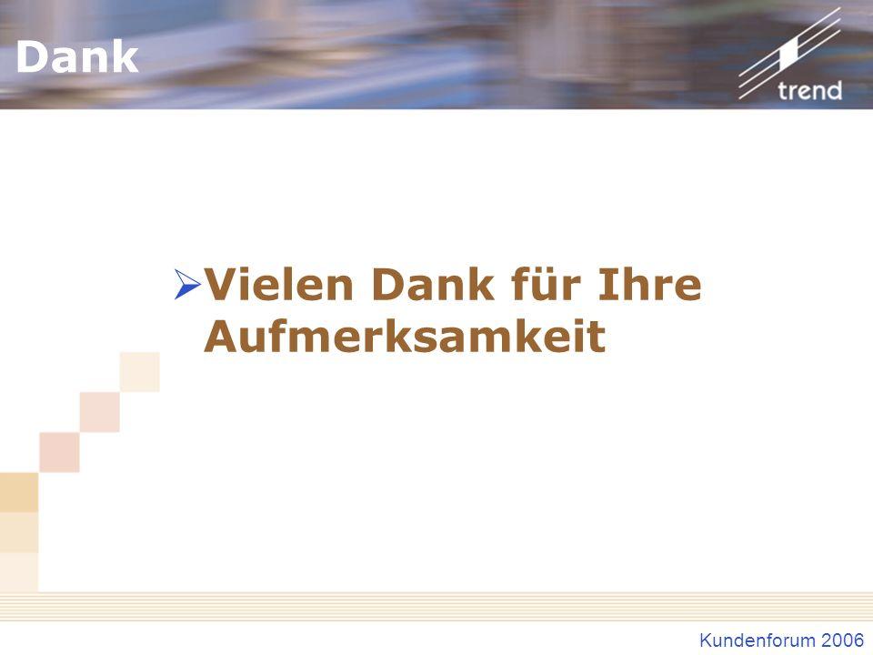 Kundenforum 2006 Dank Vielen Dank für Ihre Aufmerksamkeit