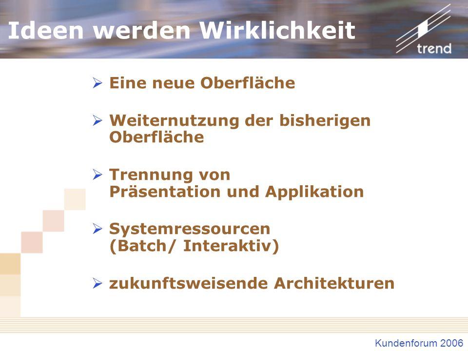 Kundenforum 2006 Optionensteuerung Baukasten-Prinzip Objektstamm-Verwaltung Optionen–Verwaltung Individuelle Optionen Codes Ein-/ Ausblenden von Programmaufrufen