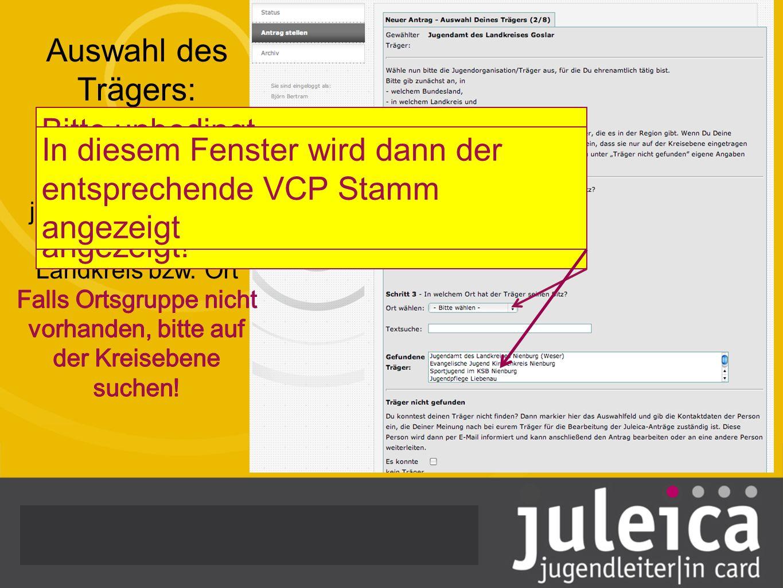 Bitte unbedingt Träger auf Kreisebene anzeigen wählen, denn nur dann wird der VCP angezeigt! In diesem Fenster wird dann der entsprechende VCP Stamm a