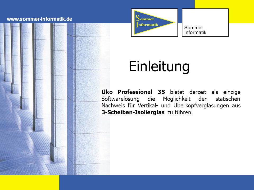 www.sommer-informatik.de Einleitung Üko Professional 3S bietet derzeit als einzige Softwarelösung die Möglichkeit den statischen Nachweis für Vertikal