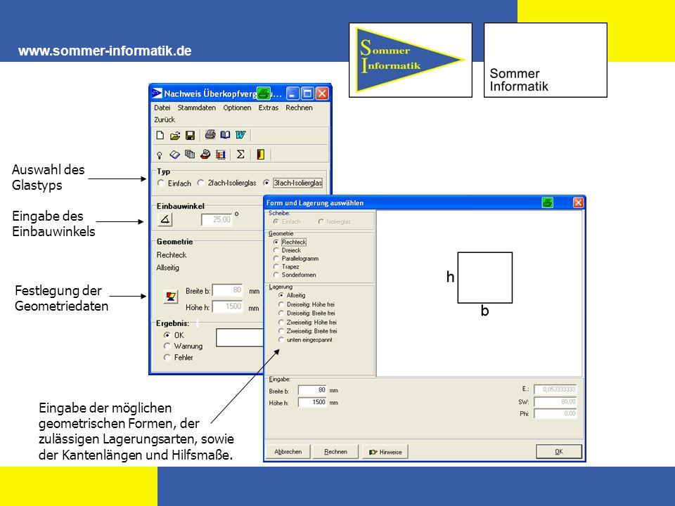 Auswahl des Glastyps Eingabe des Einbauwinkels Festlegung der Geometriedaten Eingabe der möglichen geometrischen Formen, der zulässigen Lagerungsarten
