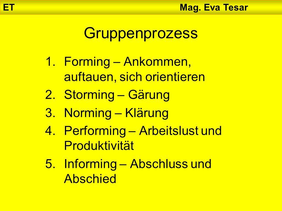 ET Mag. Eva Tesar Gruppenprozess 1.Forming – Ankommen, auftauen, sich orientieren 2.Storming – Gärung 3.Norming – Klärung 4.Performing – Arbeitslust u