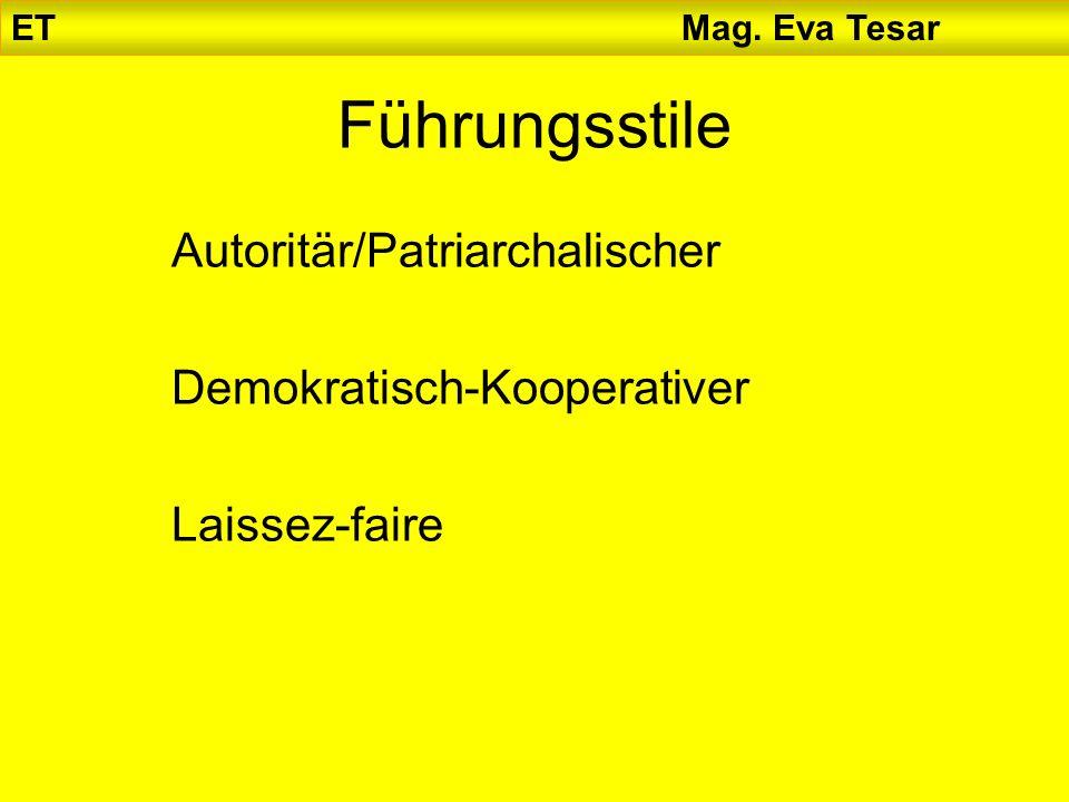 ET Mag. Eva Tesar Führungsstile Autoritär/Patriarchalischer Demokratisch-Kooperativer Laissez-faire