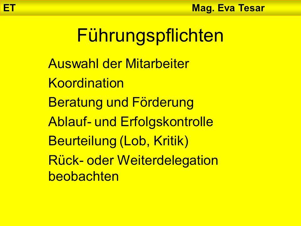 ET Mag. Eva Tesar Führungspflichten Auswahl der Mitarbeiter Koordination Beratung und Förderung Ablauf- und Erfolgskontrolle Beurteilung (Lob, Kritik)