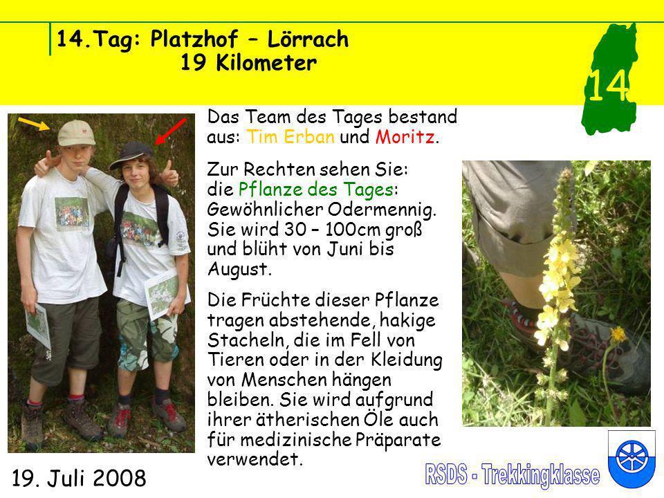 14.Tag: Platzhof – Lörrach 19 Kilometer 19. Juli 2008 14 Das Team des Tages bestand aus: Tim Erban und Moritz. Zur Rechten sehen Sie: die Pflanze des