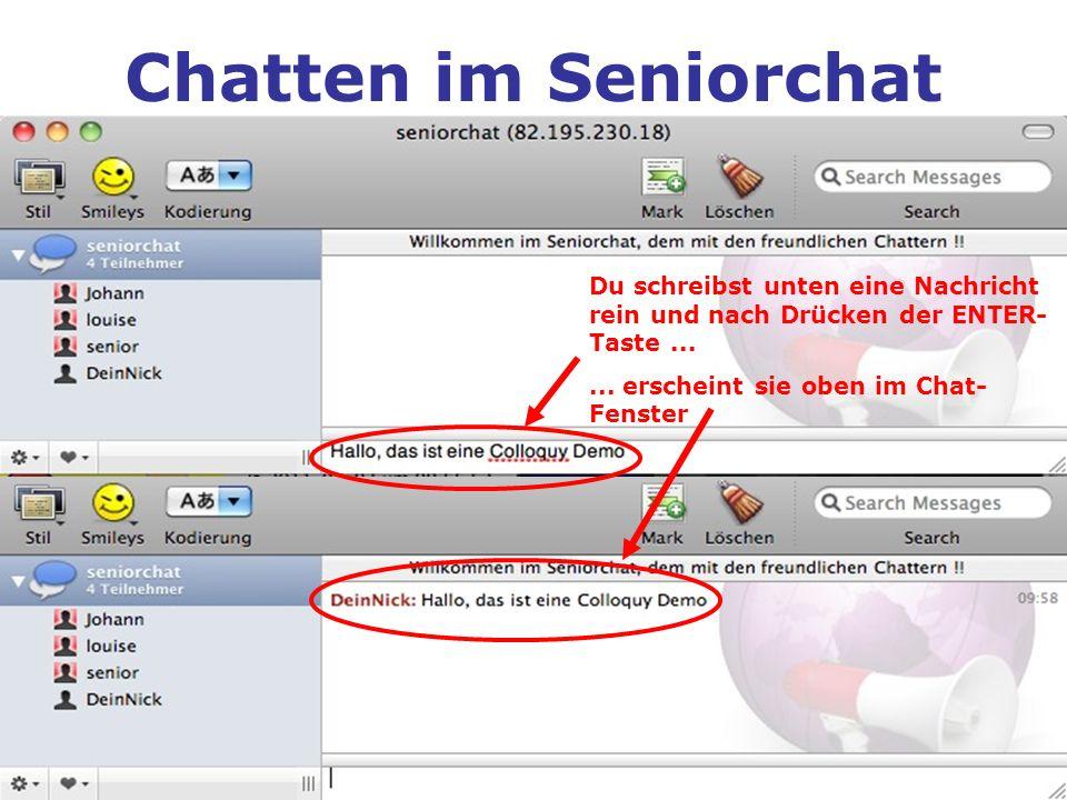 Chatten im Seniorchat Du schreibst unten eine Nachricht rein und nach Drücken der ENTER- Taste...... erscheint sie oben im Chat- Fenster