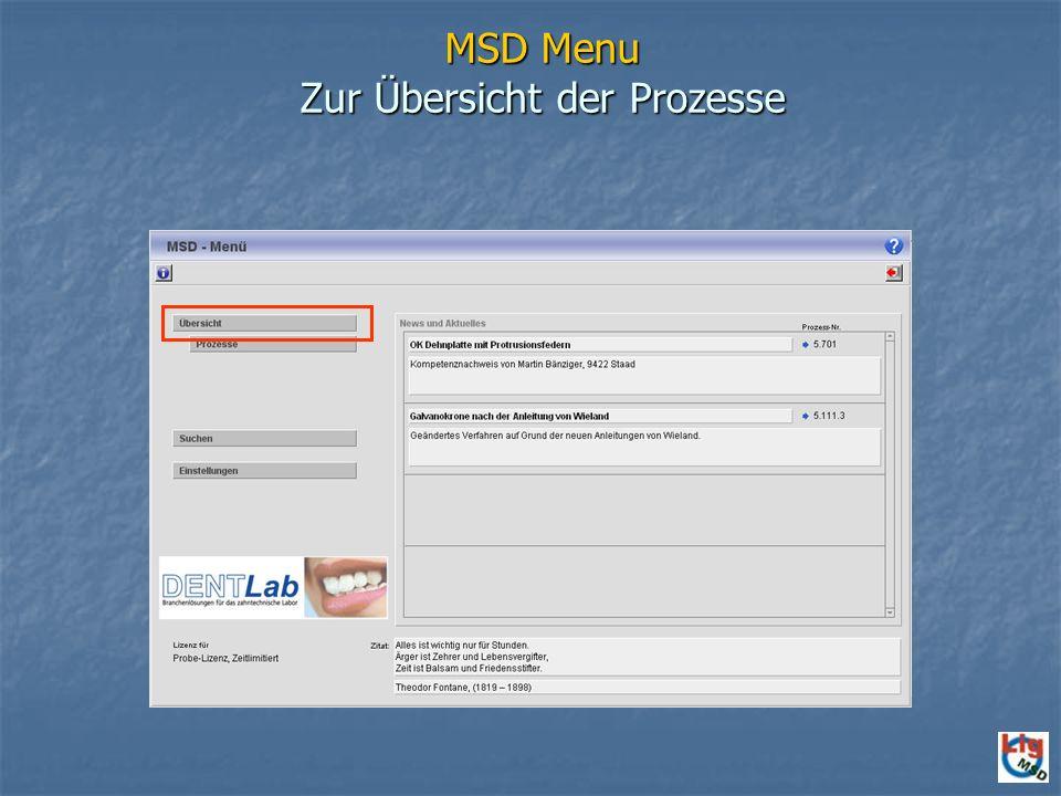 MSD Menu Zur Übersicht der Prozesse