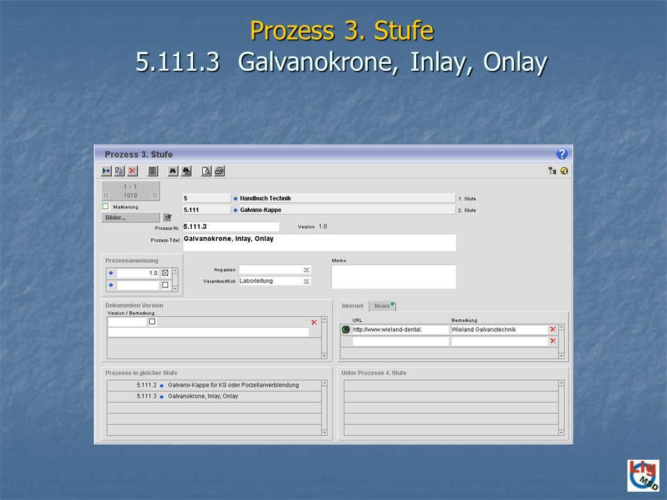 Prozess 3. Stufe 5.111.3 Galvanokrone, Inlay, Onlay