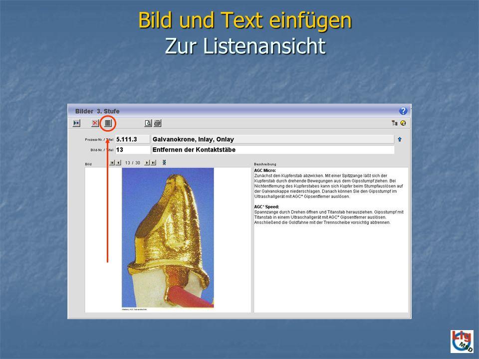 Bild und Text einfügen Zur Listenansicht