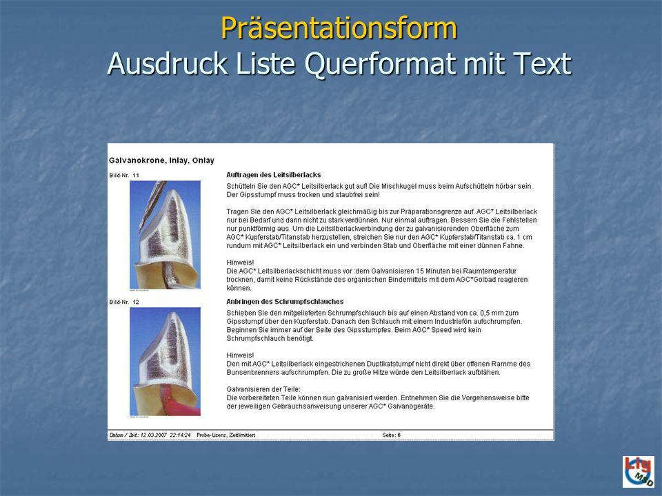 Präsentationsform Ausdruck Liste Querformat mit Text