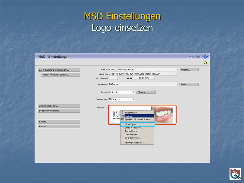 MSD Einstellungen Logo einsetzen