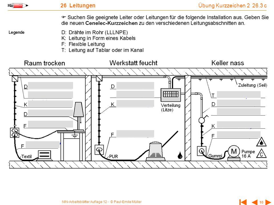 NIN-Arbeitsblätter Auflage 12 - © Paul-Emile Müller 10 26 Leitungen Übung Kurzzeichen 2 26.3 c