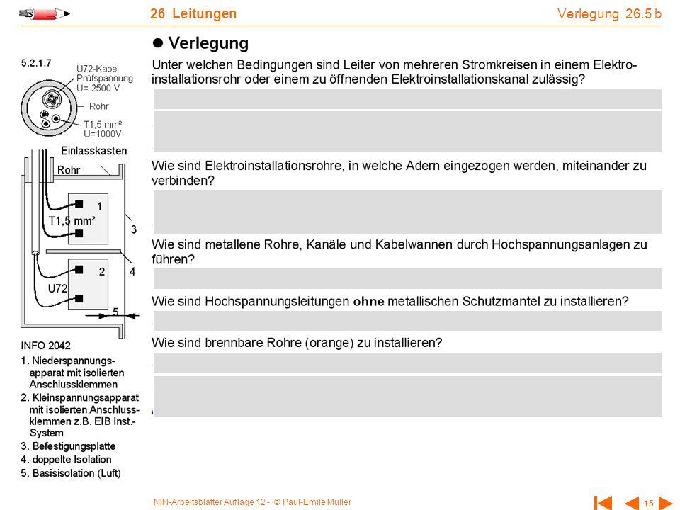 NIN-Arbeitsblätter Auflage 12 - © Paul-Emile Müller 15 26 Leitungen Verlegung 26.5 b