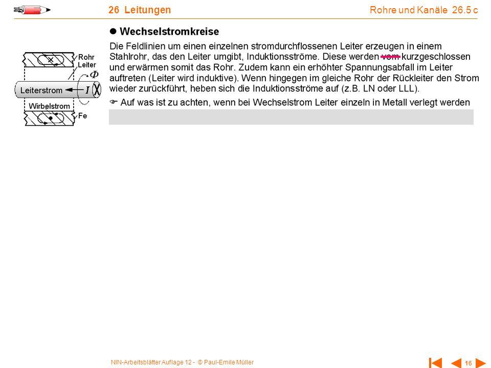 NIN-Arbeitsblätter Auflage 12 - © Paul-Emile Müller 16 26 Leitungen Rohre und Kanäle 26.5 c