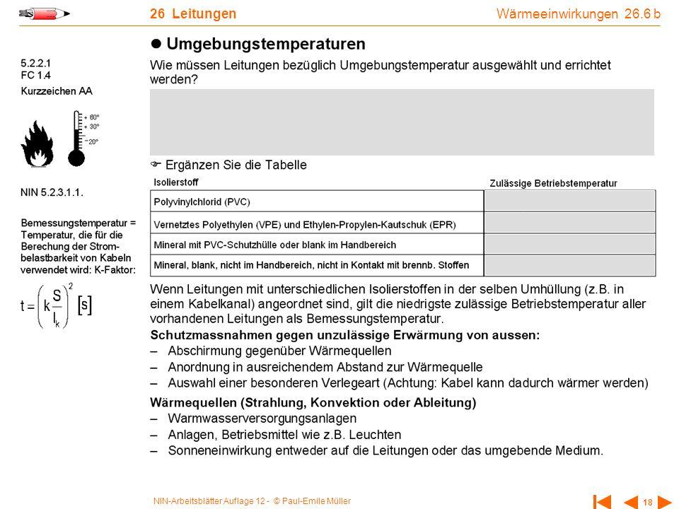 NIN-Arbeitsblätter Auflage 12 - © Paul-Emile Müller 18 26 Leitungen Wärmeeinwirkungen 26.6 b