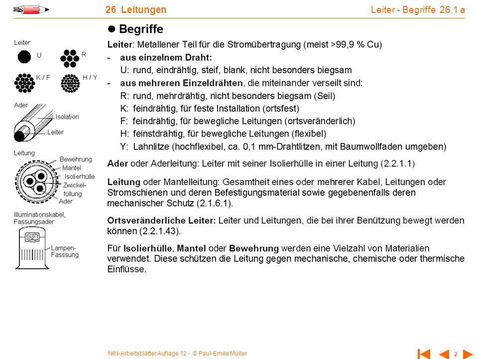 NIN-Arbeitsblätter Auflage 12 - © Paul-Emile Müller 2 26 Leitungen Leiter - Begriffe 26.1 a