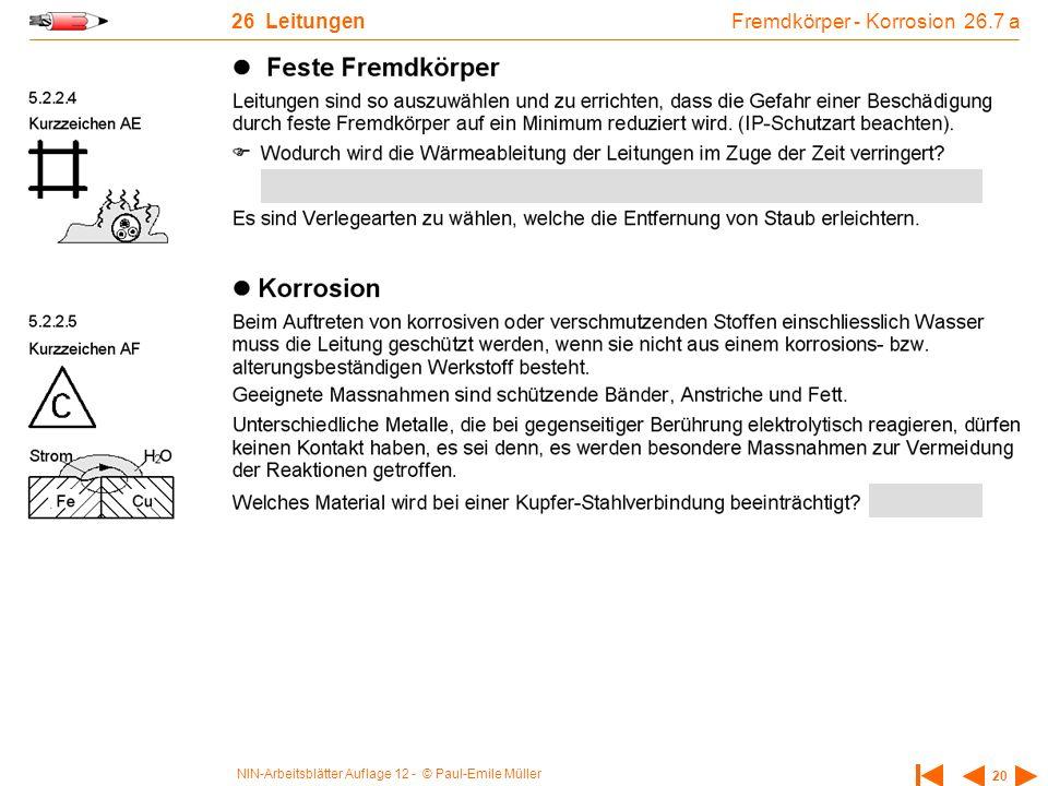 NIN-Arbeitsblätter Auflage 12 - © Paul-Emile Müller 20 26 Leitungen Fremdkörper - Korrosion 26.7 a