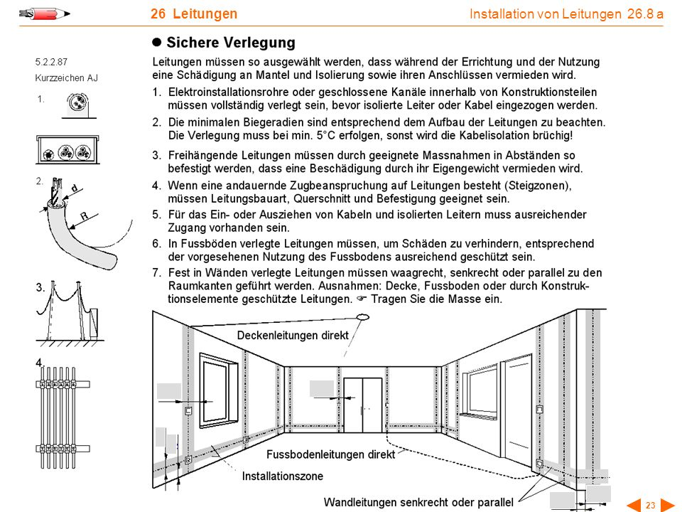 NIN-Arbeitsblätter Auflage 12 - © Paul-Emile Müller 23 26 Leitungen Installation von Leitungen 26.8 a