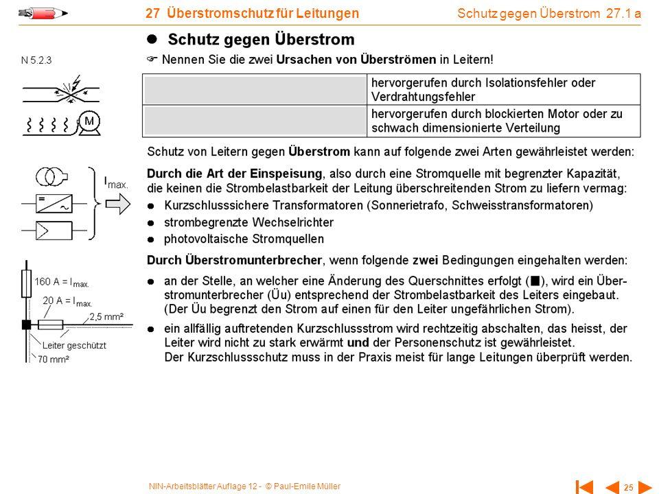 NIN-Arbeitsblätter Auflage 12 - © Paul-Emile Müller 25 27 Überstromschutz für Leitungen Schutz gegen Überstrom 27.1 a