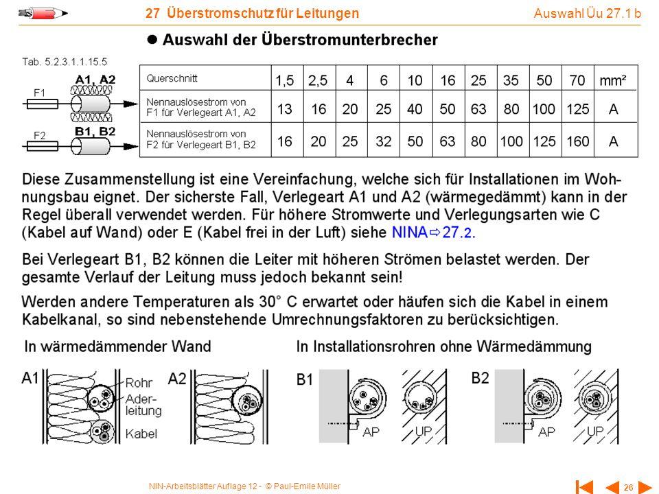 NIN-Arbeitsblätter Auflage 12 - © Paul-Emile Müller 26 27 Überstromschutz für Leitungen Auswahl Üu 27.1 b