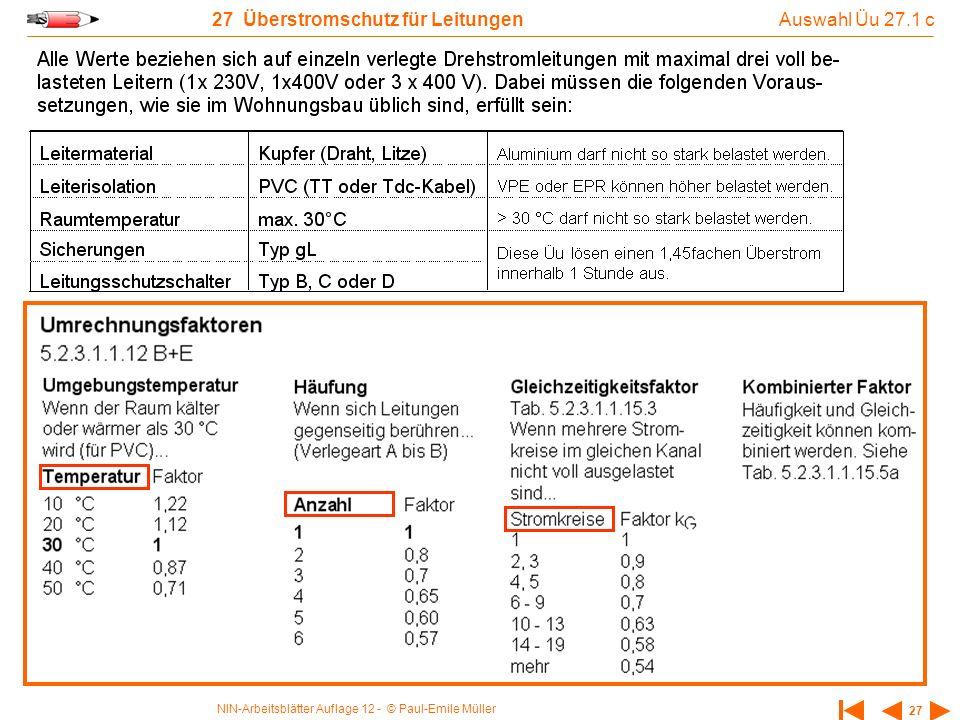 NIN-Arbeitsblätter Auflage 12 - © Paul-Emile Müller 27 27 Überstromschutz für Leitungen Auswahl Üu 27.1 c