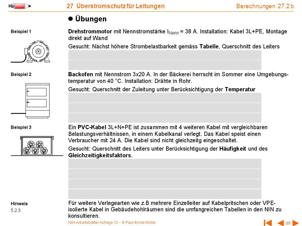 NIN-Arbeitsblätter Auflage 12 - © Paul-Emile Müller 29 27 Überstromschutz für Leitungen Berechnungen 27.2 b