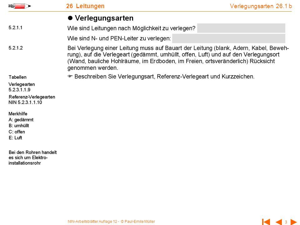 NIN-Arbeitsblätter Auflage 12 - © Paul-Emile Müller 3 26 Leitungen Verlegungsarten 26.1 b
