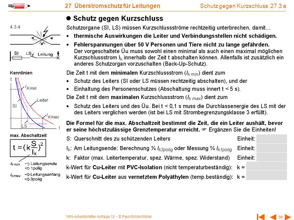 NIN-Arbeitsblätter Auflage 12 - © Paul-Emile Müller 30 27 Überstromschutz für Leitungen Schutz gegen Kurzschluss 27.3 a