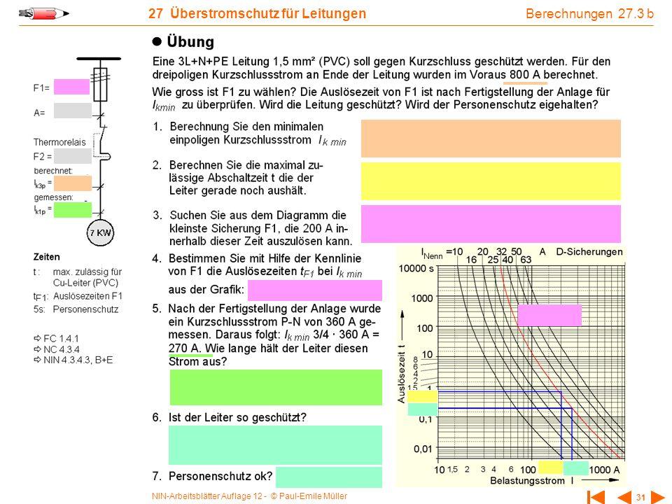 NIN-Arbeitsblätter Auflage 12 - © Paul-Emile Müller 31 27 Überstromschutz für Leitungen 0,6 Berechnungen 27.3 b