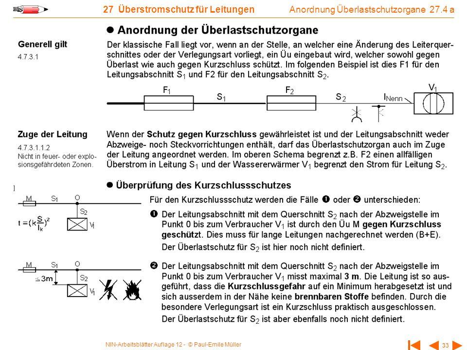 NIN-Arbeitsblätter Auflage 12 - © Paul-Emile Müller 33 27 Überstromschutz für Leitungen Anordnung Überlastschutzorgane 27.4 a
