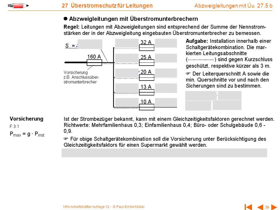 NIN-Arbeitsblätter Auflage 12 - © Paul-Emile Müller 36 27 Überstromschutz für Leitungen Abzweigleitungen mit Üu 27.5 b