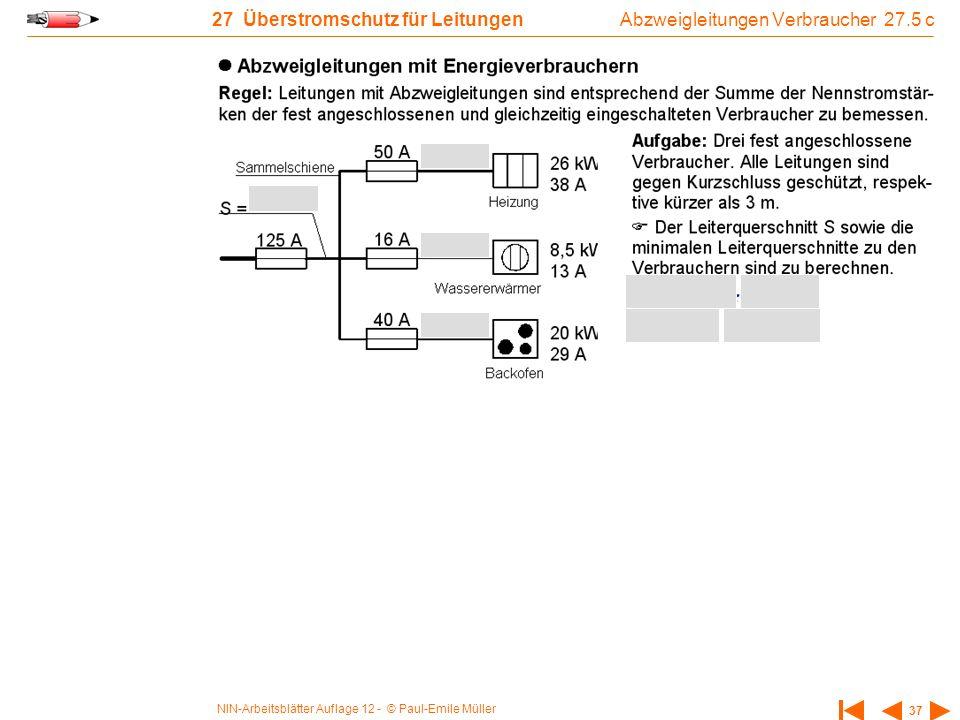 NIN-Arbeitsblätter Auflage 12 - © Paul-Emile Müller 37 27 Überstromschutz für Leitungen Abzweigleitungen Verbraucher 27.5 c