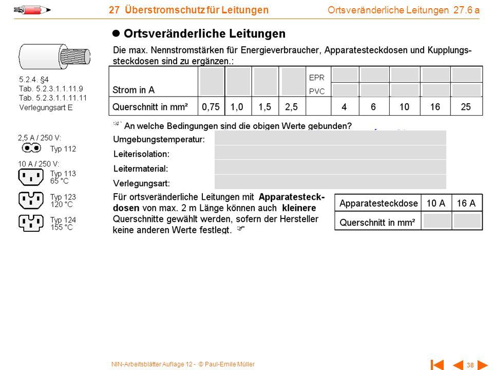 NIN-Arbeitsblätter Auflage 12 - © Paul-Emile Müller 38 27 Überstromschutz für Leitungen Ortsveränderliche Leitungen 27.6 a
