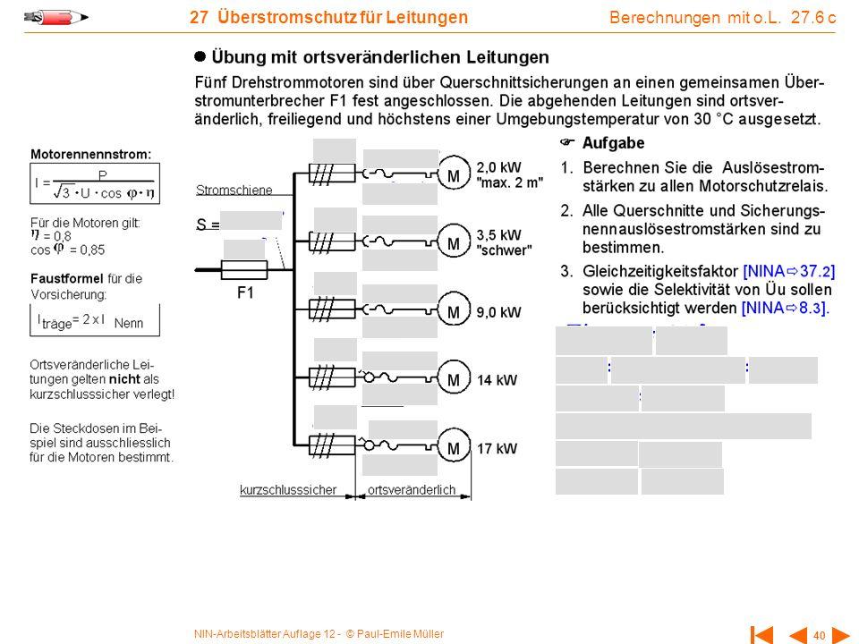 NIN-Arbeitsblätter Auflage 12 - © Paul-Emile Müller 40 27 Überstromschutz für Leitungen Berechnungen mit o.L.